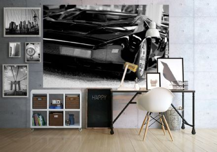 Super sports Black car wall murals - S